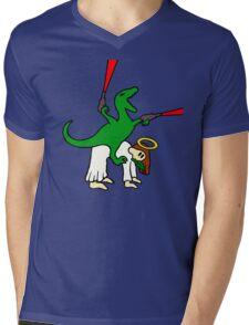 Dinosaur Riding Jesus Mens V-Neck T-Shirt