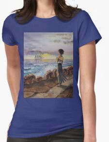 Girl At The Ocean Womens Fitted T-Shirt