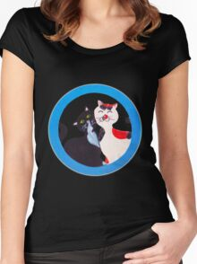 Manga Cats in love, hand painted Women's Fitted Scoop T-Shirt