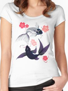 Yin and Yang Koi and Cherry Blossoms Women's Fitted Scoop T-Shirt