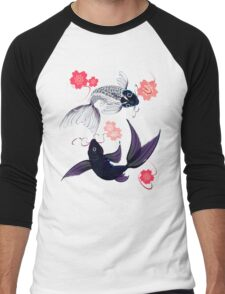 Yin and Yang Koi and Cherry Blossoms Men's Baseball ¾ T-Shirt