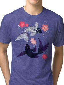 Yin and Yang Koi and Cherry Blossoms Tri-blend T-Shirt