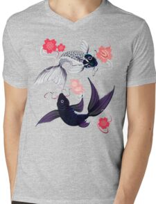 Yin and Yang Koi and Cherry Blossoms Mens V-Neck T-Shirt