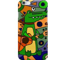 Funny Cool Alligator Playing Guitar Modern Art iPhone Case/Skin