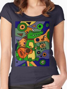 Funny Cool Alligator Playing Guitar Modern Art Women's Fitted Scoop T-Shirt