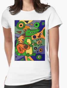 Funny Cool Alligator Playing Guitar Modern Art Womens Fitted T-Shirt