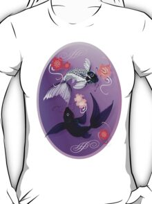 Yin and Yang Koi and Cherry Blossoms Oval T-Shirt