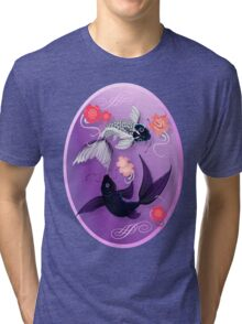 Yin and Yang Koi and Cherry Blossoms Oval Tri-blend T-Shirt