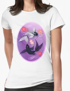 Yin and Yang Koi and Cherry Blossoms Oval Womens Fitted T-Shirt