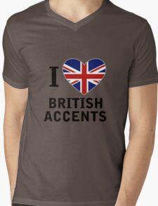 I Love British Accents  ( Black Text ) Mens V-Neck T-Shirt