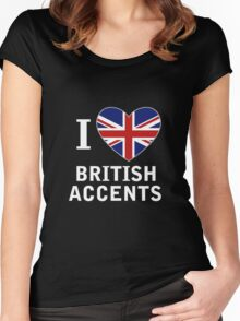 I Love British Accents (Black Text ) Women's Fitted Scoop T-Shirt
