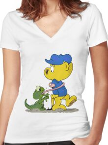 Ferald and The Baby Lizard Women's Fitted V-Neck T-Shirt
