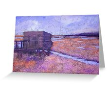 Acrylic Landscape Painting - Wader Watchers' Hut Greeting Card