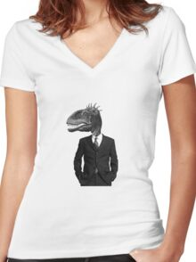 The Saurus Society - No Extinction Theory Women's Fitted V-Neck T-Shirt