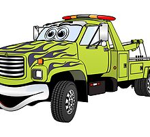 Green Tow Truck Cartoon by Graphxpro
