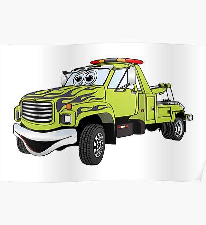 Green Tow Truck Cartoon Poster