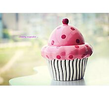 Cherry cupcake Photographic Print