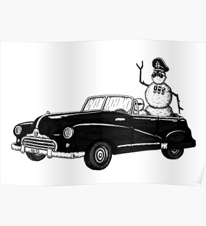 Dictator pen ink black and white drawing Poster