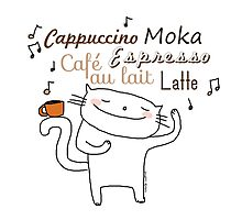 Coffee ... is music to me. / Cat doodle Photographic Print