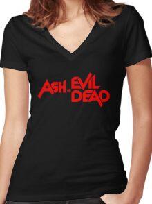 ASH VS EVIL DEAD TITLE Red Women's Fitted V-Neck T-Shirt
