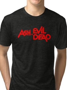 ASH VS EVIL DEAD TITLE Red Tri-blend T-Shirt