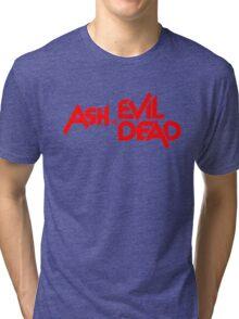 ASH VS EVIL DEAD TITLE Red Tri-blend T-Shirt