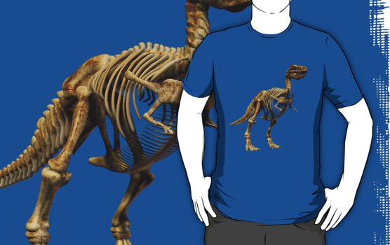 Dinosaur skeleton tee and phone case by Carol and Mike Werner