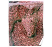 Foal  carved  in  stone Poster