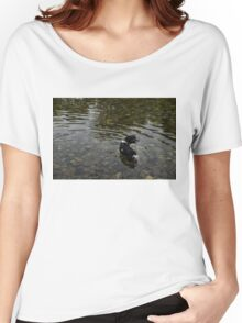 Crystal Clear Water Play - Cute Puppy In The River Women's Relaxed Fit T-Shirt