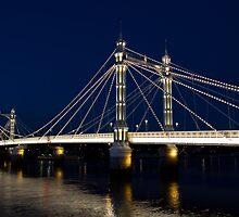 Albert Bridge London At Night by DavidHornchurch