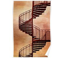 Red spiral staircase. Poster