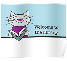 Library Welcome Cat Poster