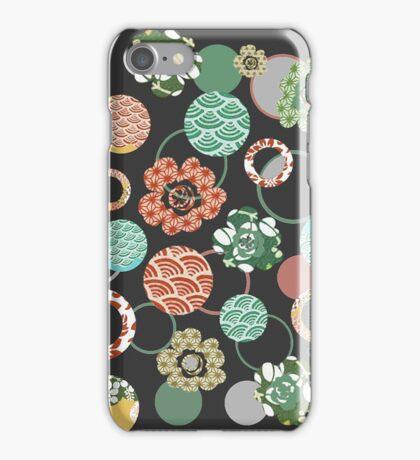 orange & green Japanese blossoms iPhone Case/Skin