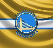Golden State Warriors - 3D Badge over Flag by Serge Averbukh