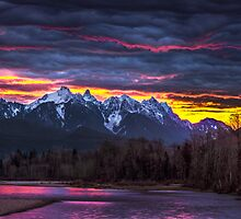 Dramatic Skykomish River Sunrise by Jim Stiles