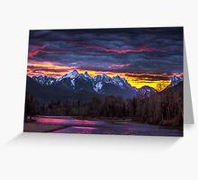 Dramatic Skykomish River Sunrise Greeting Card