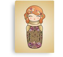 Kokeshi cute Klimt girl Canvas Print
