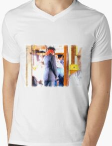 Controller in the railway wagon Mens V-Neck T-Shirt