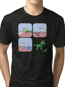 Unicorn and Narwhals as Triceratops - story Tri-blend T-Shirt