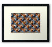 Spiral Labyrinth in Orange and Blue Tiled Framed Print