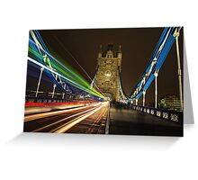 Light Trails on Tower Bridge, London Greeting Card