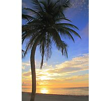 Palm Tree at Sunrise  on the Beach Photographic Print