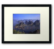 Vietnam Ha Long bay aerial view Framed Print