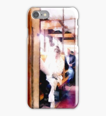 Travelers in the railway wagon iPhone Case/Skin