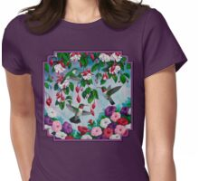 Hummingbirds and Fuchsias Purple Womens Fitted T-Shirt