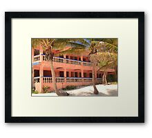 Old Pink Tropical Hotel on the Beach  Framed Print