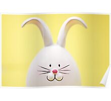 White Easter Bunny Rabbit On Yellow Poster