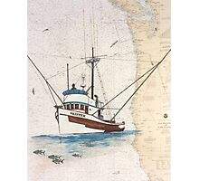 SKIPPER Tuna Boat Nautical Chart Cathy Peek Map Photographic Print