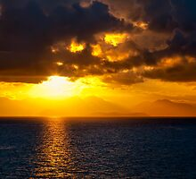 Sunset on the  Mediterranean by Janet Fikar