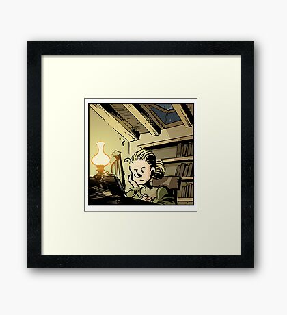 Marie Curie Studying Framed Print